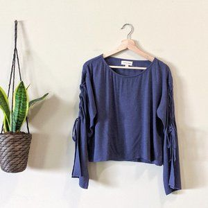 Anthropologie Blue Lace up Tie Bell Sleeve Top